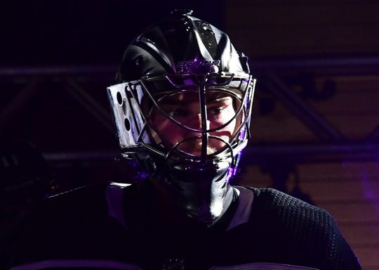 Mar 18, 2019; Los Angeles, CA, USA; Los Angeles Kings goaltender Jack Campbell (36) reacts in the third period against the Winnipeg Jets at Staples Center. The Jets defeated the Kings 3-2. Mandatory Credit: Kirby Lee-USA TODAY Sports