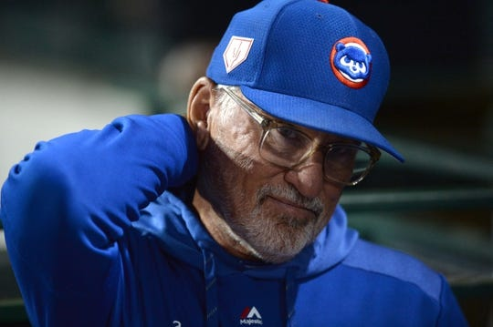Mar 20, 2019; Mesa, AZ, USA; Chicago Cubs manager Joe Maddon (70) looks on prior to the game against the Los Angeles Dodgers at Sloan Park. Mandatory Credit: Joe Camporeale-USA TODAY Sports