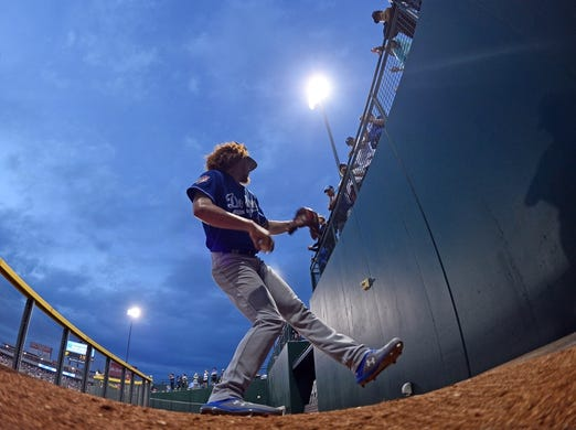 Mar 20, 2019; Mesa, AZ, USA; A general view as Los Angeles Dodgers starting pitcher Dustin May (85) warms up prior to the game against the Chicago Cubs at Sloan Park. Mandatory Credit: Joe Camporeale-USA TODAY Sports
