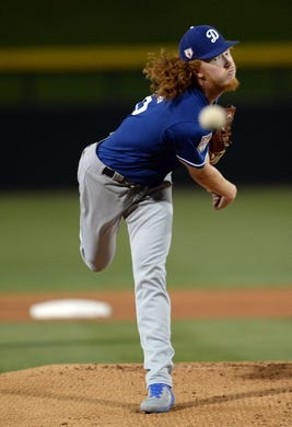 Mar 20, 2019; Mesa, AZ, USA; Los Angeles Dodgers starting pitcher Dustin May (85) pitches against the Chicago Cubs during the first inning at Sloan Park. Mandatory Credit: Joe Camporeale-USA TODAY Sports