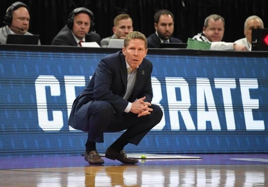 Mar 21, 2019; Salt Lake City, UT, USA; Gonzaga Bulldogs head coach Mark Few in the first half against the Fairleigh Dickinson Knights in the first round of the 2019 NCAA Tournament at Vivint Smart Home Arena. Mandatory Credit: Kirby Lee-USA TODAY Sports