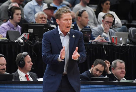 Mar 21, 2019; Salt Lake City, UT, USA; Gonzaga Bulldogs head coach Mark Few reacts in the first half against the Fairleigh Dickinson Knights in the first round of the 2019 NCAA Tournament at Vivint Smart Home Arena. Mandatory Credit: Kirby Lee-USA TODAY Sports