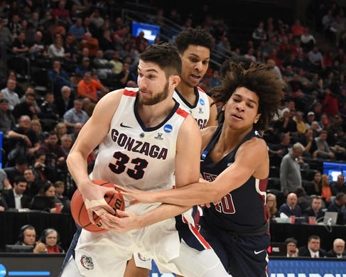 Mar 21, 2019; Salt Lake City, UT, USA; Gonzaga Bulldogs forward Killian Tillie (33) gets a rebound against the Fairleigh Dickinson Knights in the first half in the first round of the 2019 NCAA Tournament at Vivint Smart Home Arena. Mandatory Credit: Kirby Lee-USA TODAY Sports