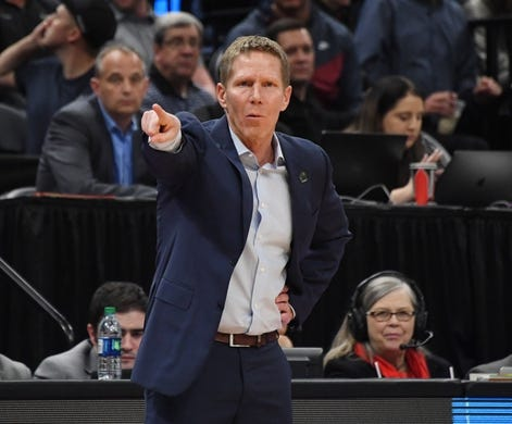 Mar 21, 2019; Salt Lake City, UT, USA; Gonzaga Bulldogs head coach Mark Few gestures against the Fairleigh Dickinson Knights in the first half in the first round of the 2019 NCAA Tournament at Vivint Smart Home Arena. Mandatory Credit: Kirby Lee-USA TODAY Sports