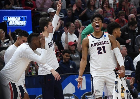 Mar 21, 2019; Salt Lake City, UT, USA; Gonzaga Bulldogs forward Rui Hachimura (21) reacts after a three point basket against the Fairleigh Dickinson Knights during the first half in the first round of the 2019 NCAA Tournament at Vivint Smart Home Arena. Mandatory Credit: Kirby Lee-USA TODAY Sports