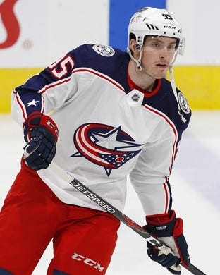 Mar 21, 2019; Edmonton, Alberta, CAN; Columbus Blue Jackets forward Matt Duchene (95) skates during warmup against the Edmonton Oilers at Rogers Place. Mandatory Credit: Perry Nelson-USA TODAY Sports