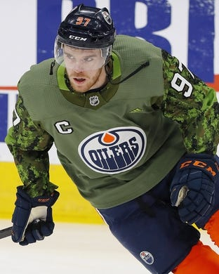 Mar 21, 2019; Edmonton, Alberta, CAN; Edmonton Oilers forward Connor McDavid (97) skates during warmup against the Columbus Blue Jackets at Rogers Place. Mandatory Credit: Perry Nelson-USA TODAY Sports