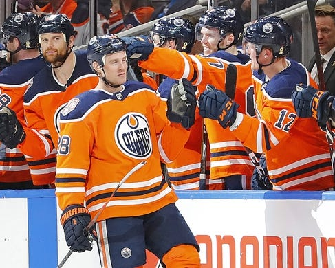 Mar 21, 2019; Edmonton, Alberta, CAN; Edmonton Oilers forward Kyle Brodziak (28) celebrates a second period goal against the Columbus Blue Jackets at Rogers Place. Mandatory Credit: Perry Nelson-USA TODAY Sports