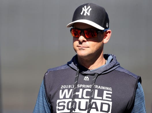 Mar 22, 2019; Tampa, FL, USA; New York Yankees manager Aaron Boone (17) prior to the game against the Philadelphia Phillies at George M. Steinbrenner Field. Mandatory Credit: Kim Klement-USA TODAY Sports