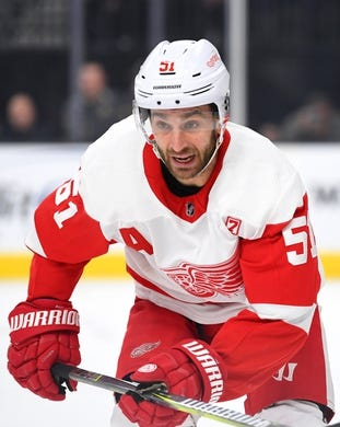 Mar 23, 2019; Las Vegas, NV, USA; Detroit Red Wings center Frans Nielsen (51) follows the play during the first period against the Vegas Golden Knights at T-Mobile Arena. Mandatory Credit: Stephen R. Sylvanie-USA TODAY Sports