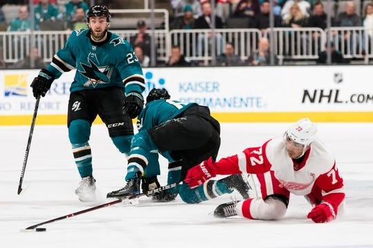 Mar 25, 2019; San Jose, CA, USA; Detroit Red Wings center Andreas Athanasiou (72) against the San Jose Sharks in the first period at SAP Center at San Jose. Mandatory Credit: John Hefti-USA TODAY Sports