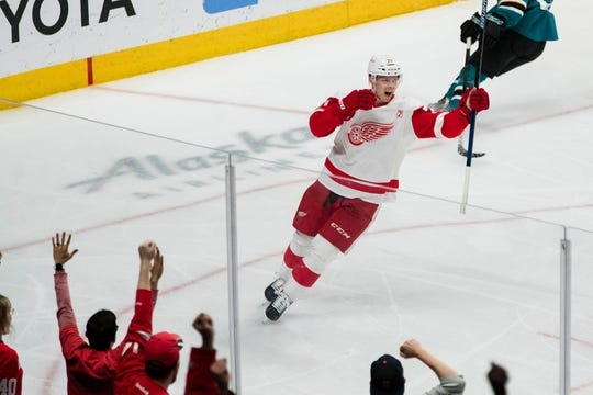 Mar 25, 2019; San Jose, CA, USA; Detroit Red Wings center Christoffer Ehn (70) celebrates after scoring a goal against the San Jose Sharks in the third period at SAP Center at San Jose. Mandatory Credit: John Hefti-USA TODAY Sports