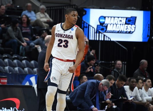 Mar 21, 2019; Salt Lake City, UT, USA; Gonzaga Bulldogs guard Zach Norvell Jr. (23) celebrates in the first round of the 2019 NCAA Tournament against the Fairleigh Dickinson Knights  at Vivint Smart Home Arena. Gonzaga defeated Farleigh Dickinson 87-49. Mandatory Credit: Kirby Lee-USA TODAY Sports