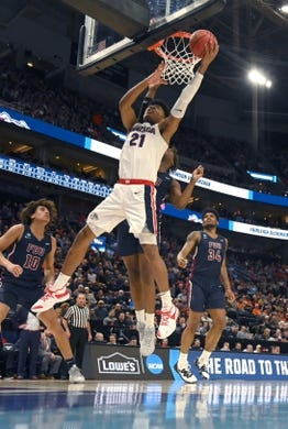 Mar 21, 2019; Salt Lake City, UT, USA; Gonzaga Bulldogs forward Rui Hachimura (21) shoots the ball against the Fairleigh Dickinson Knights  in the first round of the 2019 NCAA Tournament at Vivint Smart Home Arena. Gonzaga defeated Farleigh Dickinson 87-49. Mandatory Credit: Kirby Lee-USA TODAY Sports