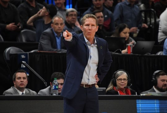 Mar 21, 2019; Salt Lake City, UT, USA; Gonzaga Bulldogs head coach Mark Few reacts in the first round of the 2019 NCAA Tournament against the Fairleigh Dickinson Knights at Vivint Smart Home Arena. Gonzaga defeated Farleigh Dickinson 87-49. Mandatory Credit: Kirby Lee-USA TODAY Sports