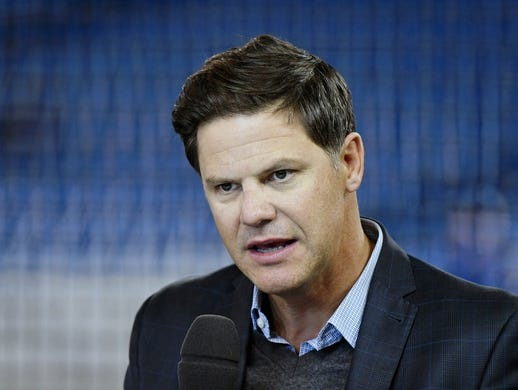 Mar 28, 2019; Toronto, Ontario, CAN;  Toronto Blue Jays general manager Ross Atkins speaks during a television interview before the home opener against Detroit Tigers at Rogers Centre. Mandatory Credit: Dan Hamilton-USA TODAY Sports