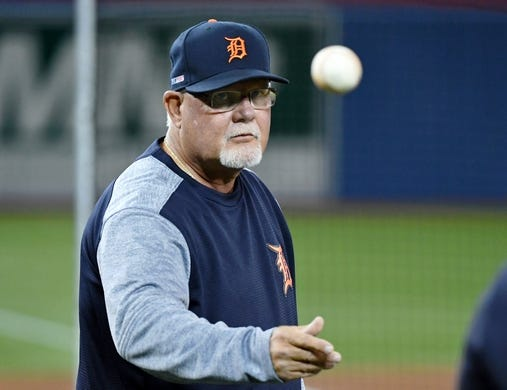Mar 28, 2019; Toronto, Ontario, CAN; Detroit Tigers manager Ron Gardenhire (15) throws a ball during batting practice before playing Toronto Blue Jays at Rogers Centre. Mandatory Credit: Dan Hamilton-USA TODAY Sports