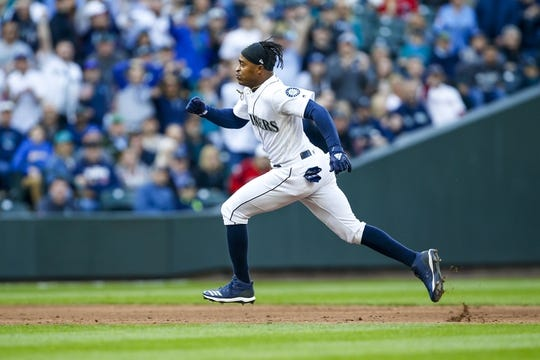 Mar 28, 2019; Seattle, WA, USA; Seattle Mariners center fielder Mallex Smith (0) runs the bases for a triple against the Boston Red Sox during the third inning at T-Mobile Park. Mandatory Credit: Joe Nicholson-USA TODAY Sports