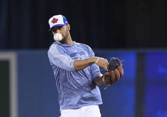 Mar 29, 2019; Toronto, Ontario, CAN; Toronto Blue Jays second baseman Lourdes Gurriel Jr. throws a ball to first base during batting practice against the Detroit Tigers at Rogers Centre. Mandatory Credit: Nick Turchiaro-USA TODAY Sports