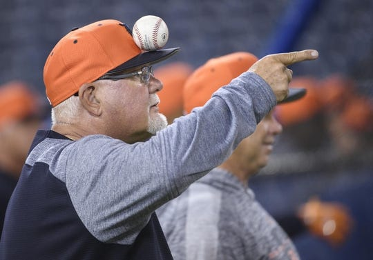 Mar 29, 2019; Toronto, Ontario, CAN; Detroit Tigers manager Ron Gardenhire (15) balances a ball on his cap during batting practice against the Toronto Blue Jays at Rogers Centre. Mandatory Credit: Nick Turchiaro-USA TODAY Sports