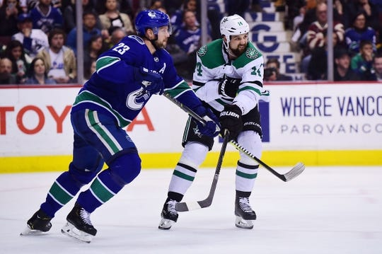 Mar 30, 2019; Vancouver, British Columbia, CAN; Dallas Stars forward Alexander Radulov (47) battles for the puck against Vancouver Canucks defenseman Alexander Edler (23) during the second period at Rogers Arena. Mandatory Credit: Anne-Marie Sorvin-USA TODAY Sports