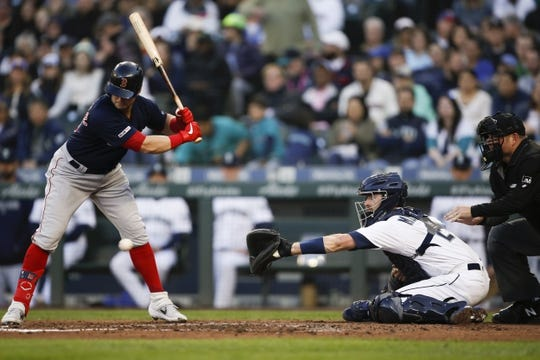 Mar 30, 2019; Seattle, WA, USA; Seattle Mariners catcher Tom Murphy (2) receives a pitch against the Boston Red Sox during the second inning at T-Mobile Park. Mandatory Credit: Joe Nicholson-USA TODAY Sports