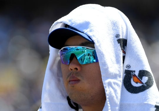 Mar 31, 2019; Los Angeles, CA, USA; Los Angeles Dodgers starting pitcher Hyun-Jin Ryu (99) looks on from the dugout during the second inning against the Arizona Diamondbacks at Dodger Stadium. Mandatory Credit: Jayne Kamin-Oncea-USA TODAY Sports