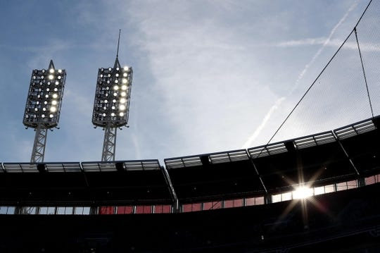 Apr 1, 2019; Cincinnati, OH, USA; A view of the ballpark lights as the sun begins to set prior to the game between the Milwaukee Brewers and the Cincinnati Reds at Great American Ball Park. Mandatory Credit: Aaron Doster-USA TODAY Sports
