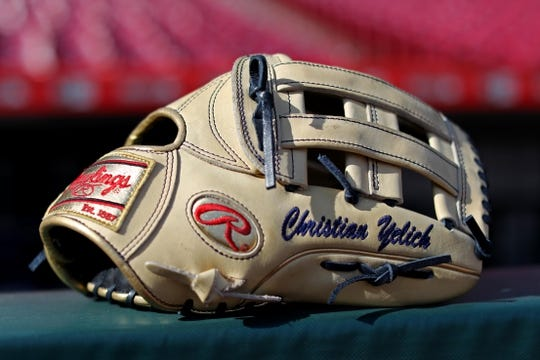 Apr 1, 2019; Cincinnati, OH, USA; A view of the Rawlings glove of Milwaukee Brewers right fielder Christian Yelich (not pictured) during batting practice prior to the game against the Cincinnati Reds Great American Ball Park. Mandatory Credit: Aaron Doster-USA TODAY Sports