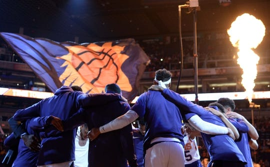 Apr 1, 2019; Phoenix, AZ, USA; Phoenix Suns players huddle prior to facing the Cleveland Cavaliers at Talking Stick Resort Arena. Mandatory Credit: Joe Camporeale-USA TODAY Sports