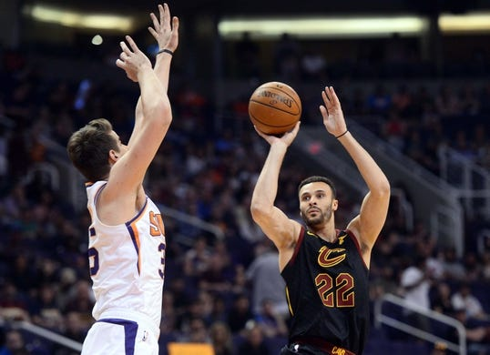 Apr 1, 2019; Phoenix, AZ, USA; Cleveland Cavaliers forward Larry Nance Jr. (22) shoots over Phoenix Suns forward Dragan Bender (35) during the first half at Talking Stick Resort Arena. Mandatory Credit: Joe Camporeale-USA TODAY Sports