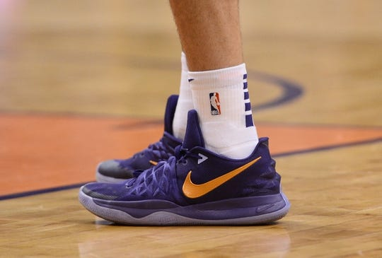 Apr 1, 2019; Phoenix, AZ, USA; Phoenix Suns guard Devin Booker (1) shoes during the game against the Cleveland Cavaliers at Talking Stick Resort Arena. Mandatory Credit: Joe Camporeale-USA TODAY Sports