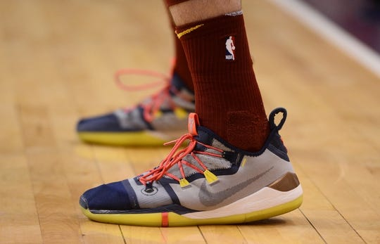 Apr 1, 2019; Phoenix, AZ, USA; Cleveland Cavaliers forward Cedi Osman (16) shoes during the game against the Phoenix Suns at Talking Stick Resort Arena. Mandatory Credit: Joe Camporeale-USA TODAY Sports