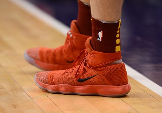 Apr 1, 2019; Phoenix, AZ, USA; Cleveland Cavaliers guard Nik Stauskas (1) shoes during the game against the Phoenix Suns at Talking Stick Resort Arena. Mandatory Credit: Joe Camporeale-USA TODAY Sports