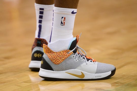 Apr 1, 2019; Phoenix, AZ, USA; Phoenix Suns guard Troy Daniels (30) shoes during the game against the Cleveland Cavaliers at Talking Stick Resort Arena. Mandatory Credit: Joe Camporeale-USA TODAY Sports