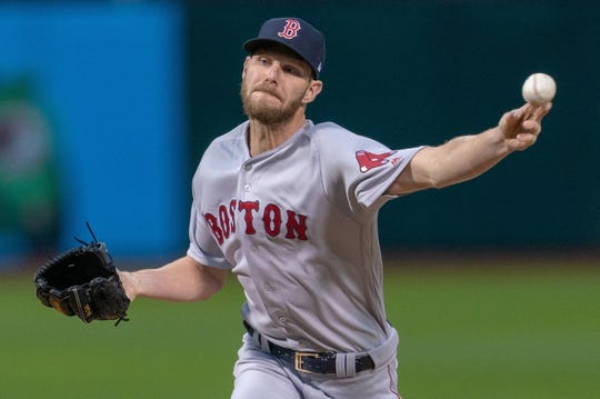 Apr 2, 2019; Oakland, CA, USA; Boston Red Sox starting pitcher Chris Sale (41) delivers a pitch during the first inning against the Oakland Athletics at Oakland Coliseum. Mandatory Credit: Neville E. Guard-USA TODAY Sports