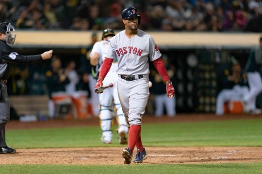 Apr 2, 2019; Oakland, CA, USA; Boston Red Sox shortstop Xander Bogaerts (2) reacts after striking out during the sixth inning against the Oakland Athletics at Oakland Coliseum. Mandatory Credit: Neville E. Guard-USA TODAY Sports