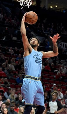 Apr 3, 2019; Portland, OR, USA; Memphis Grizzlies guard Tyler Dorsey (22) drives to the basket during the first half of the game against the Portland Trail Blazers at the Moda Center. Mandatory Credit: Steve Dykes-USA TODAY Sports