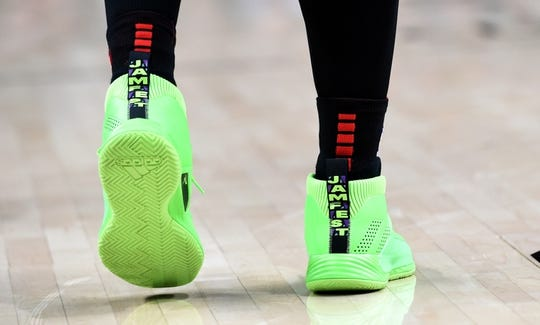 Apr 3, 2019; Portland, OR, USA; A general view of the shoes of Portland Trail Blazers guard Damian Lillard (0) during the second half of the game against the Memphis Grizzlies at the Moda Center. The Blazers won 116-89. Mandatory Credit: Steve Dykes-USA TODAY Sports