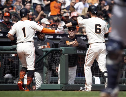 Apr 6, 2019; San Francisco, CA, USA; San Francisco Giants teammates Kevin Pillar (1) and Steven Duggar (6) celebrate a sacrifice fly by Duggar that scored Pillar during the third inning of a Major League Baseball game against the Tampa Bay Rays at Oracle Park. Mandatory Credit: D. Ross Cameron-USA TODAY Sports