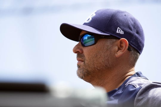 Apr 6, 2019; San Francisco, CA, USA; Tampa Bay Rays manager Kevin Cash (16) looks on against the San Francisco Giants during the second inning of a game at Oracle Park. Mandatory Credit: D. Ross Cameron-USA TODAY Sports