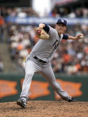 Apr 6, 2019; San Francisco, CA, USA; Tampa Bay Rays pitcher Ryan Yarborough (48) throws the ball against the San Francisco Giants during the fifth inning of a game at Oracle Park. Mandatory Credit: D. Ross Cameron-USA TODAY Sports