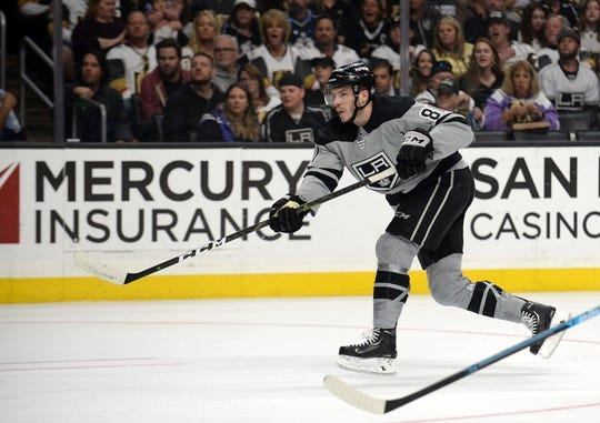 April 6, 2019; Los Angeles, CA, USA; Los Angeles Kings defenseman Matt Roy (81) shoots to score a goal against the Vegas Golden Knights during the second period at Staples Center. Mandatory Credit: Gary A. Vasquez-USA TODAY Sports