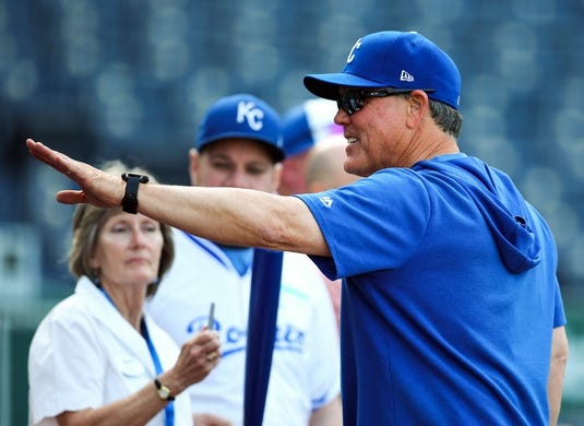 Apr 9, 2019; Kansas City, MO, USA; Kansas City Royals manager Ned Yost (3) talks with fans before the game against the Seattle Mariners at Kauffman Stadium. Mandatory Credit: Jay Biggerstaff-USA TODAY Sports