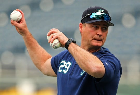 Apr 10, 2019; Kansas City, MO, USA; Seattle Mariners manager Scott Servais (29) during batting practice before the game against the Kansas City Royals at Kauffman Stadium. Mandatory Credit: Jay Biggerstaff-USA TODAY Sports