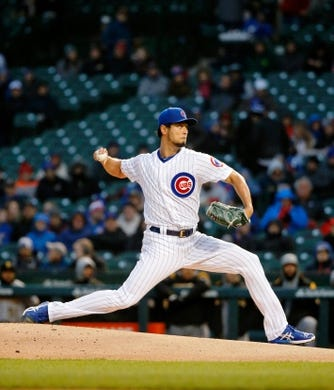 Apr 10, 2019; Chicago, IL, USA; Chicago Cubs starting pitcher Yu Darvish (11) pitches against the Pittsburgh Pirates during the first inning at Wrigley Field. Mandatory Credit: Jon Durr-USA TODAY Sports