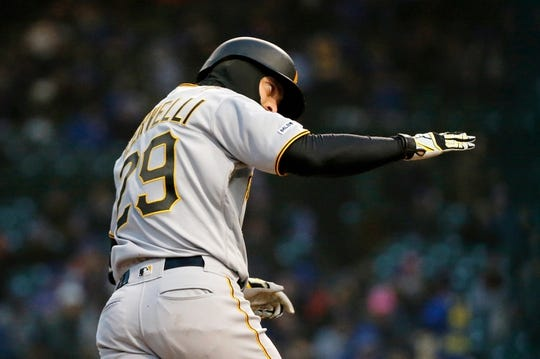 Apr 10, 2019; Chicago, IL, USA; Pittsburgh Pirates catcher Francisco Cervelli (29) rounds the bases after hitting a home run against the Chicago Cubs during the first inning at Wrigley Field. Mandatory Credit: Jon Durr-USA TODAY Sports