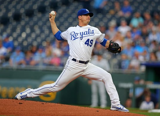 Apr 10, 2019; Kansas City, MO, USA; Kansas City Royals starting pitcher Heath Fillmyer (49) throws the ball against the Seattle Mariners in the first inning at Kauffman Stadium. Mandatory Credit: Jay Biggerstaff-USA TODAY Sports