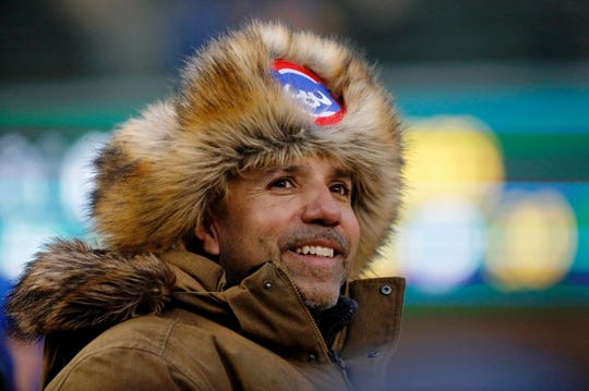 Apr 10, 2019; Chicago, IL, USA; A Chicago Cubs fan wears a hat as he looks on before the game between the Chicago Cubs and the Pittsburgh Pirates at Wrigley Field.  Mandatory Credit: Jon Durr-USA TODAY Sports