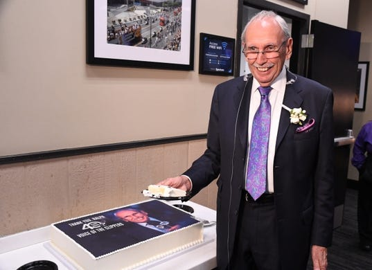 Apr 10, 2019; Los Angeles, CA, USA; LA Clippers broadcaster Ralph Lawler cuts a cake with his image before the game against the Utah Jazz at the Staples Center Lawler is announcing his final regular season game after 40 years. Mandatory Credit: Kirby Lee-USA TODAY Sports